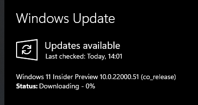 Windows 11 인사이더 프리뷰 최초 공개 빌드는 22000.51 빌드이고 2021-06-29 화요일 오전 2시 [한국시간]에 윈도우 업데이트로 공개됨.png