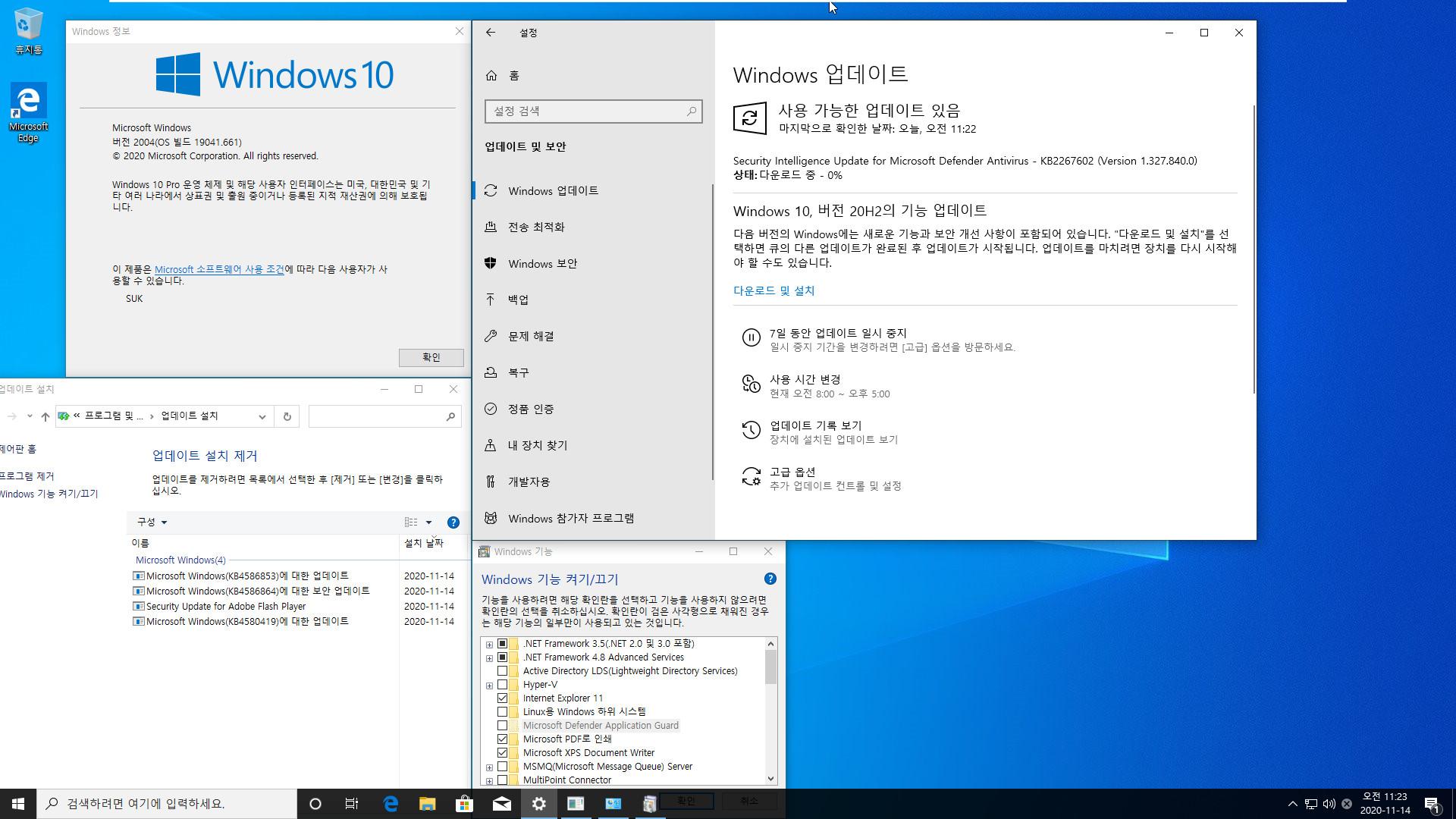 2020-11-14 토요일 [프리뷰] 통합 PRO x64 2개 - Windows 10 버전 2004 + 버전 20H2 누적 업데이트 KB4586853 (OS 빌드 19041.661 + 19042.661) v2 - 윈도우 설치 테스트 2020-11-14_112300.jpg