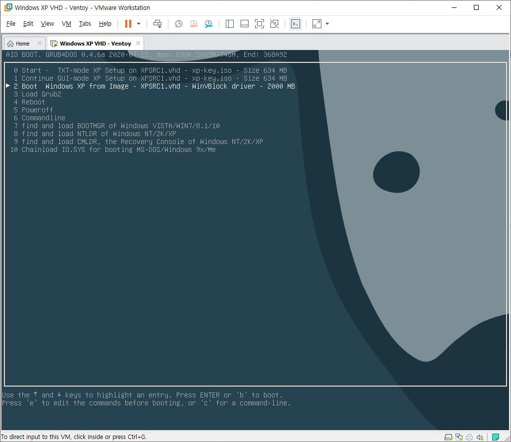 AIO Boot가 v0.9.9.14 부터 XP.vhd 부팅 지원해서 테스트 - vmware를 XP로 설정하여 xp.vhd 설치부터 grub4dos로 해야 하네요 - 이제 XP.VHD만으로 부팅이 가능합니다 2020-09-23_175457.jpg