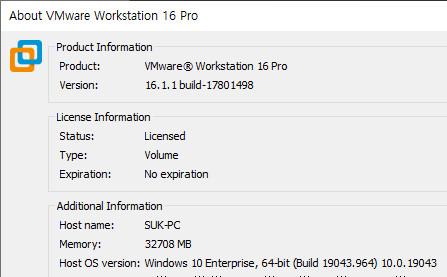 VMware 15.5.5 부터 (+윈도우 10 버전 2004 부터) Hyper-V와 Vmware 동시 사용 가능해졌는데요 - 무슨 이유인지 최신 16.1.1 설치해도 심하게 버벅이네요. 혹시 윈도우 10 버전이 앞서 가서 그런지.. 2021-05-04_070217.jpg