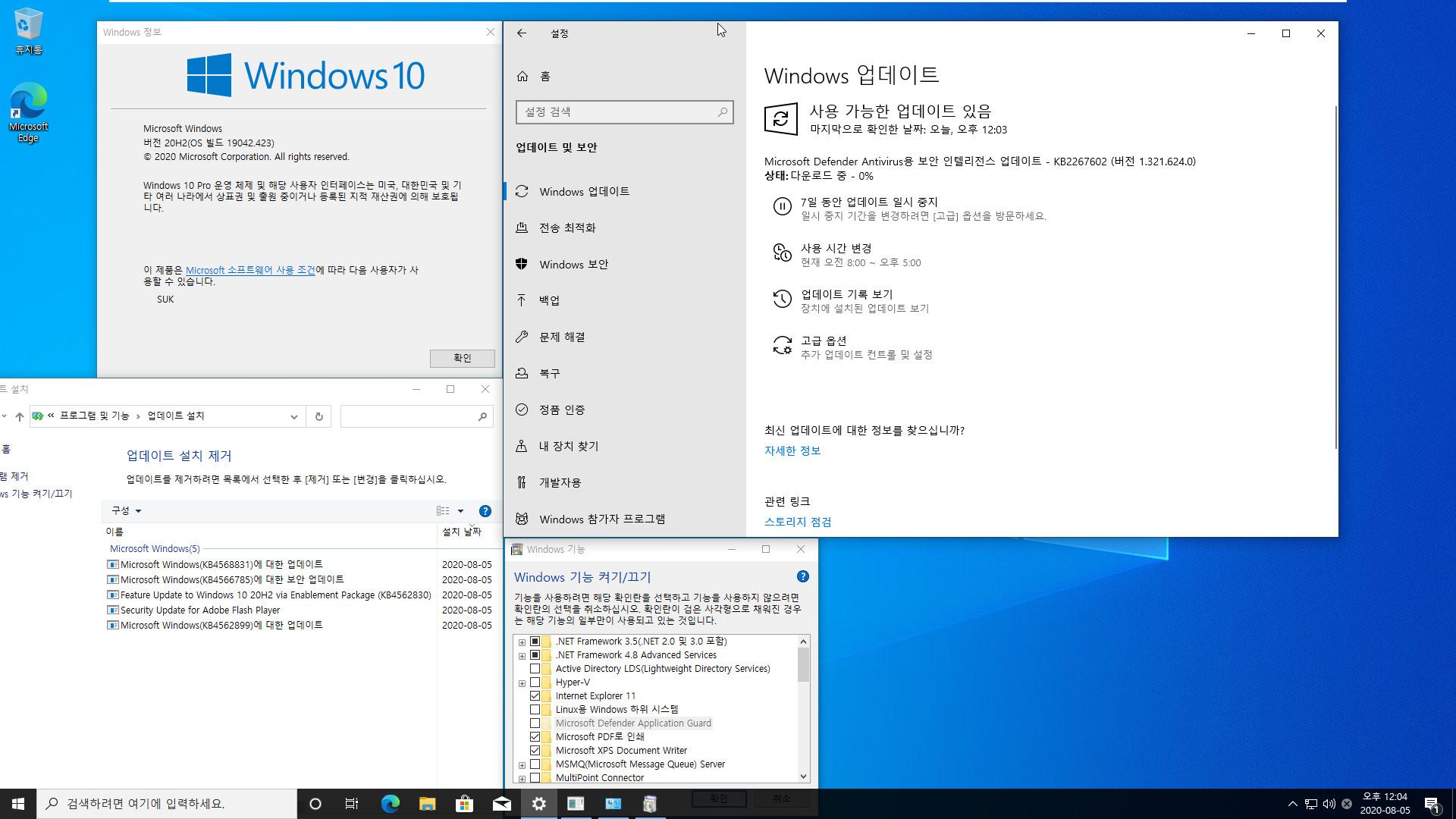 2020-08-01일자 수시 업데이트 통합 - Windows 10 버전 2004 + 버전 20H2 누적 업데이트 KB4568831 (OS 빌드 19041.423 + 19042.423) vmware에 설치 테스트 2020-08-05_120400.jpg
