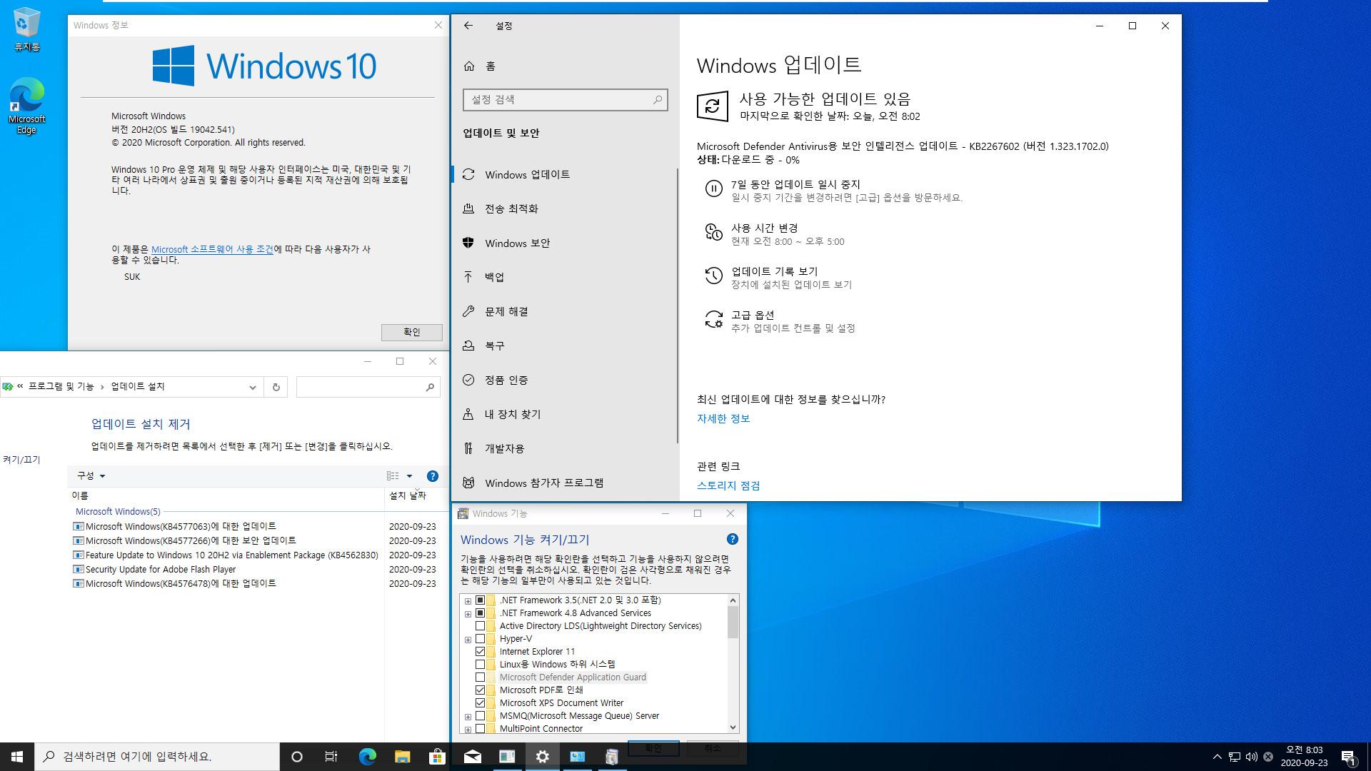 2020-09-23 업데이트 통합 PRO x64 2개 - Windows 10 버전 2004 + 버전 20H2 누적 업데이트 KB4577063 (OS 빌드 19041.541 + 19042.541) - 설치 테스트 2020-09-23_080300.jpg