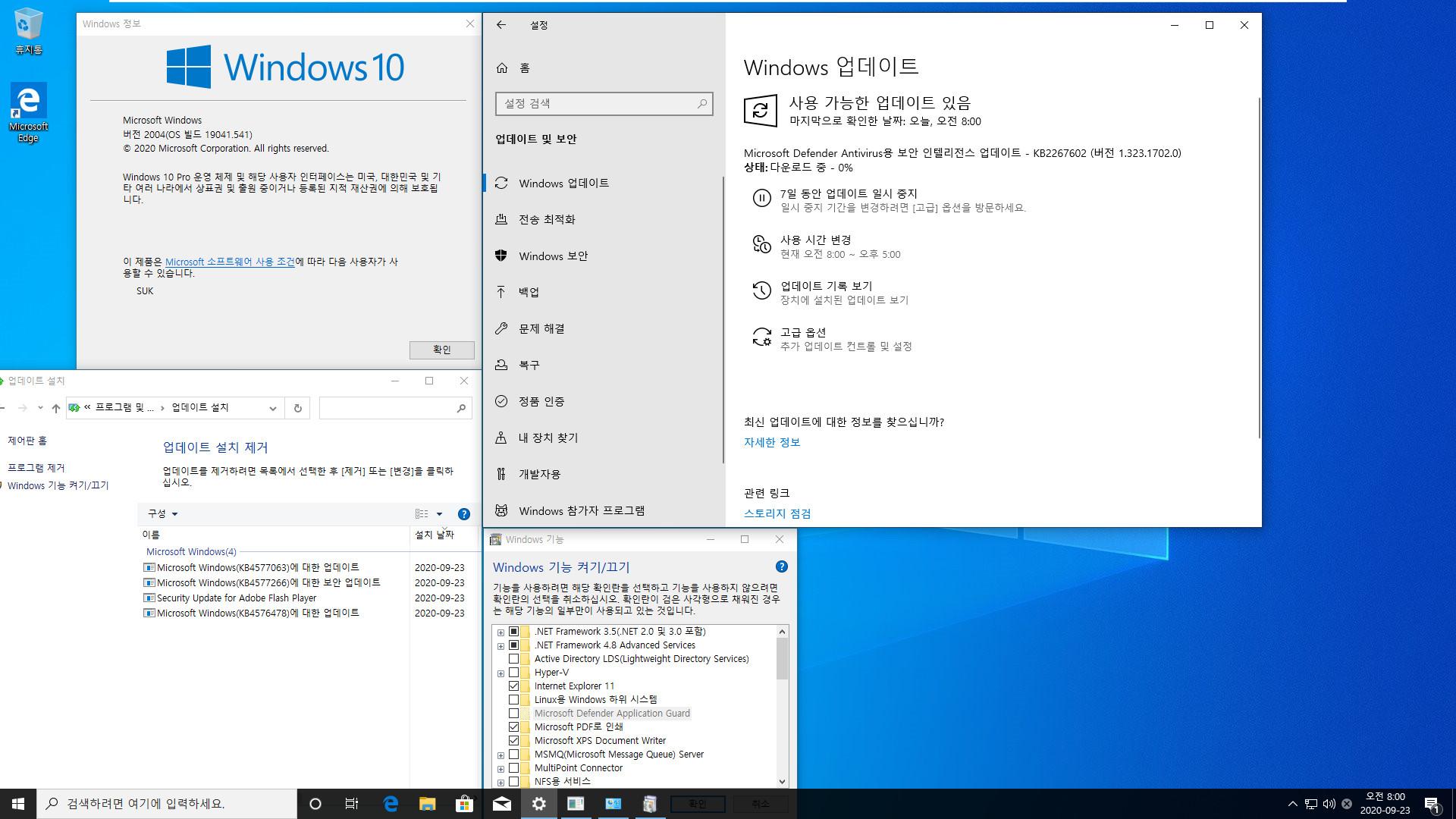 2020-09-23 업데이트 통합 PRO x64 2개 - Windows 10 버전 2004 + 버전 20H2 누적 업데이트 KB4577063 (OS 빌드 19041.541 + 19042.541) - 설치 테스트 2020-09-23_080021.jpg