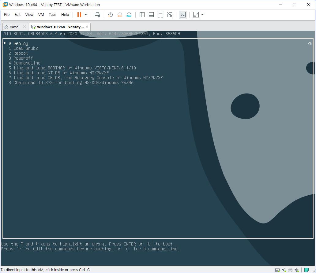 AIO Boot와 Ventoy 하나의 디스크에 합치기 - bios 모드 연동 문제 해결 - Ventoy 기준으로 AIO Boot는 해결함 - AIO Boot에서도 Ventoy 불러오기 성공 2020-09-18_162010.jpg