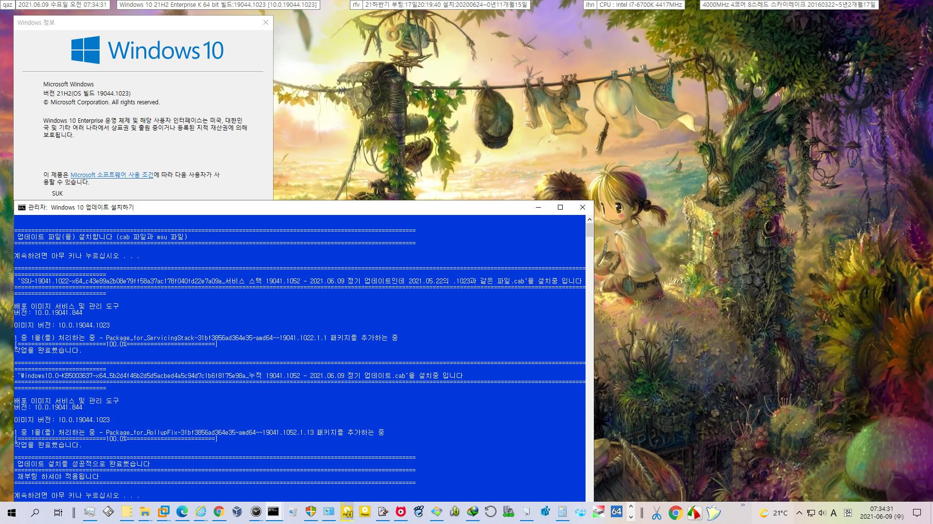 2021-06-09 수요일 정기 업데이트 - Windows 10 버전 21H2 (OS 빌드 19044.1052) - 공용 누적 업데이트 KB5003637 - 실컴에 설치 2021-06-09_073431.jpg