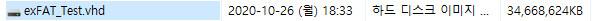 exFAT 포맷으로도 VHD 부팅이 Windows 10 버전 1903부터 된다고 하여 테스트 - 완전 생고생 했습니다 2020-10-26_183803.jpg