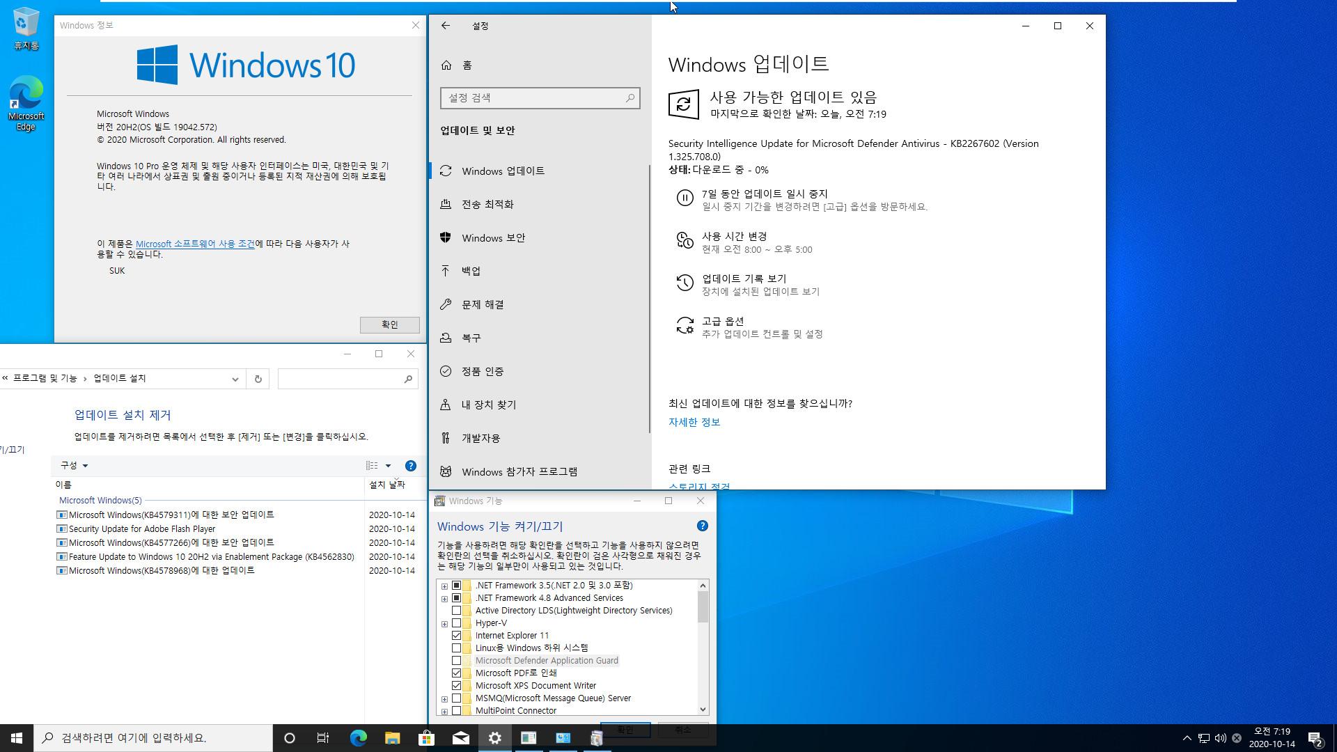 2020-10-14 수요일 정기 업데이트 통합 PRO x64 2개 - Windows 10 버전 2004 + 버전 20H2 누적 업데이트 KB4579311 (OS 빌드 19041.572 + 19042.572) - 설치 테스트 2020-10-14_071920.jpg