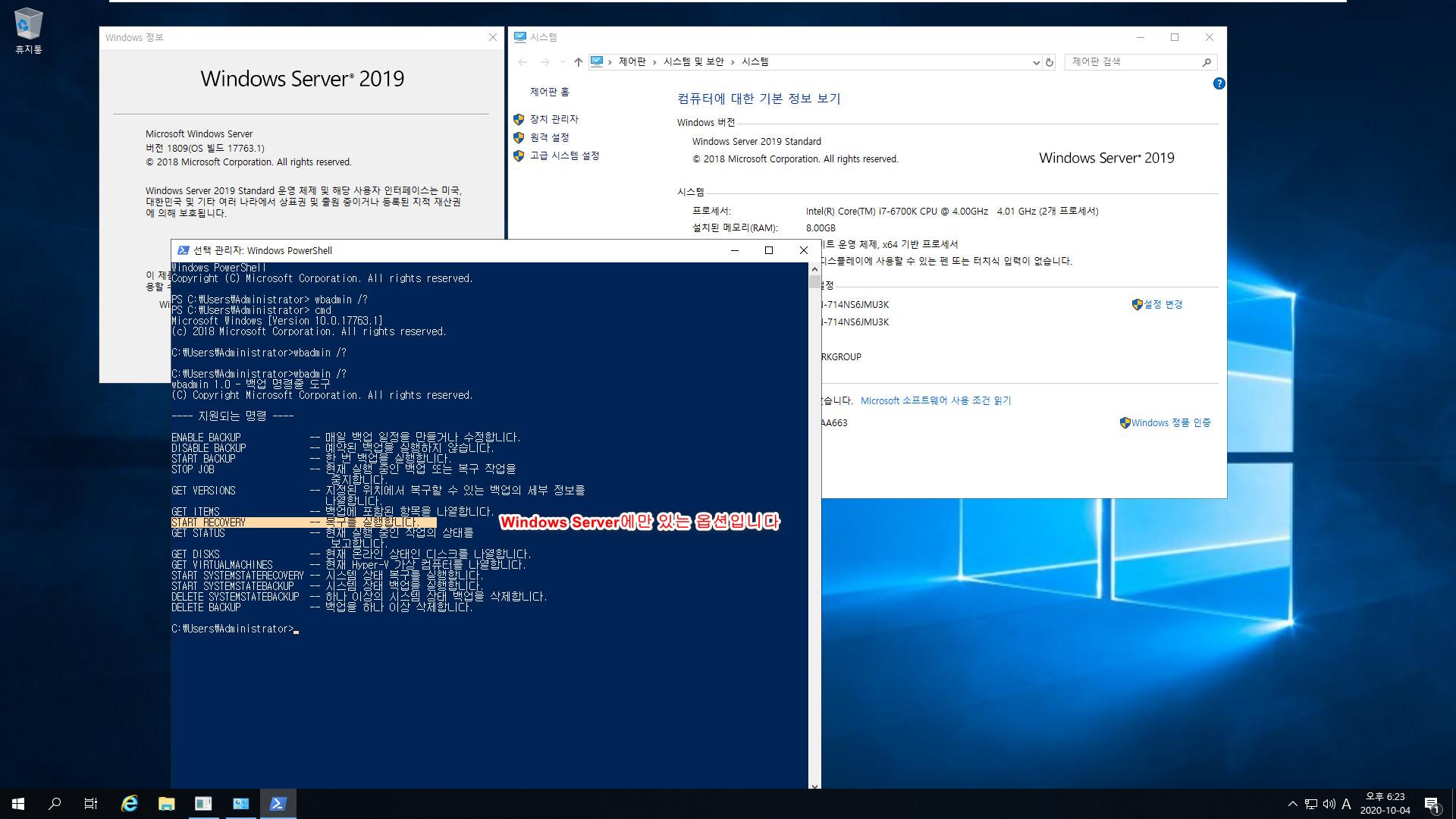 윈도우 서버군은 윈도우 사용중에도 자체 WBadmin 명령으로 윈도우 복구를 합니다 - Windows Server 2019로 복구 테스트 2020-10-04_182320.jpg