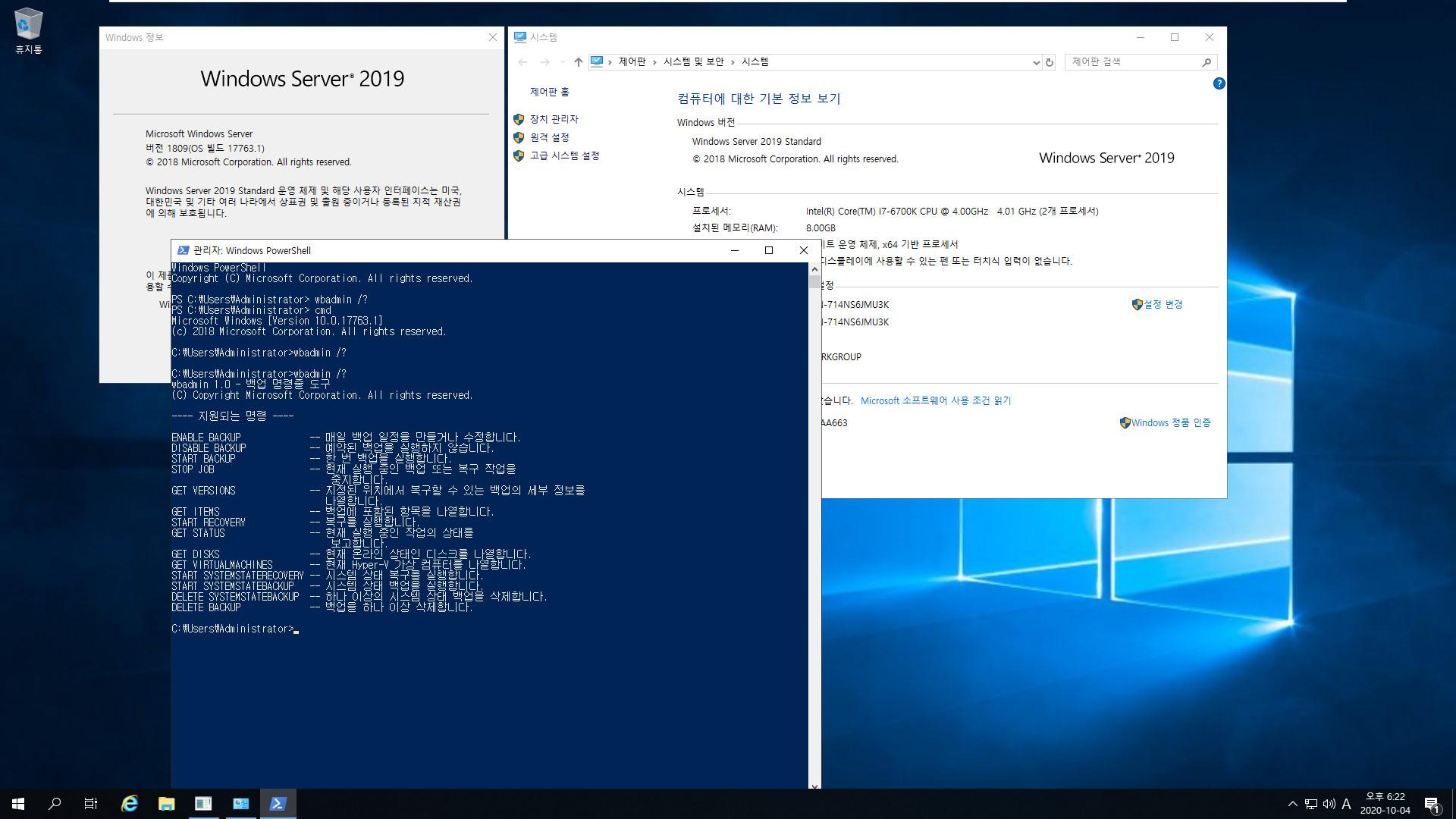 윈도우 서버군은 윈도우 사용중에도 자체 WBadmin 명령으로 윈도우 복구를 합니다 - Windows Server 2019로 복구 테스트 2020-10-04_182253.jpg
