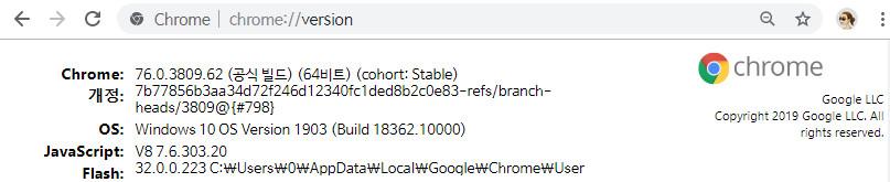 크롬 업데이트 - 베타 버전 76.0.3809.62 -  Chrome Beta 폴더를 Chrome 폴더로 이름 변경하여 Beta 라는 문구가 없습니다 2019-07-11_085914.jpg