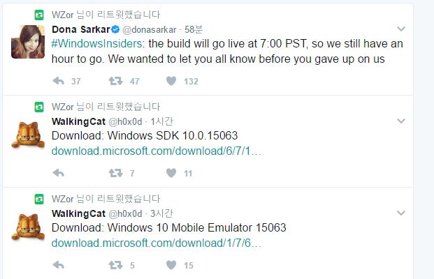 윈도10 레드스톤2 15063 빌드는 SDK 파일이 먼저 공개 되었네요. RTM 이라고 알려주는건가요 2017-03-21_105106.png