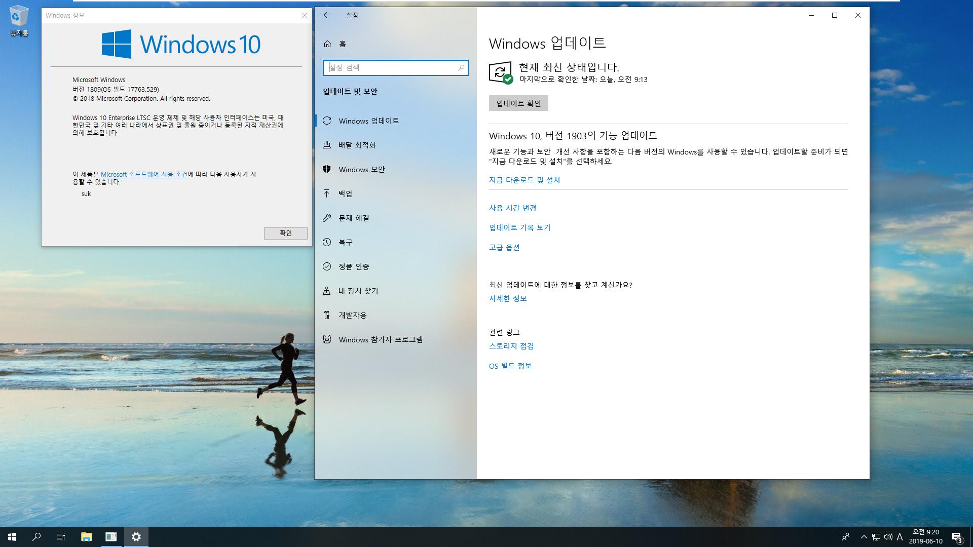 Windows 10 Enterprise LTSC [2019] - 버전 1809, 빌드 17763 - 버전 1903 기능 업데이트 테스트 2019-06-10_092057.png