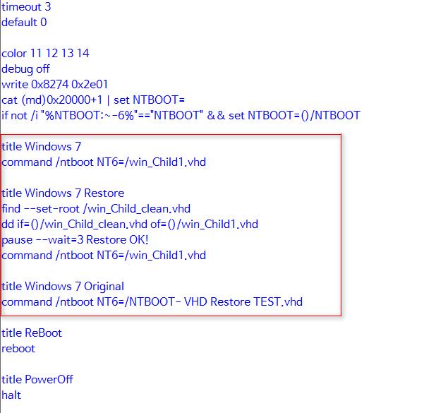 NTBOOT GRUB4DOS VHD 복구 테스트 - 가상머신에서 테스트 - VHD 안에 또 VHD 만듦 - menu.lst 내용 - 영어로 수정하고 부모 VHD 부팅도 추가함 - 그외 부모 VHD 파일 이름을 영어로 바꾸고 자식 vhd는 다시 생성함 2018-07-01_133435.png