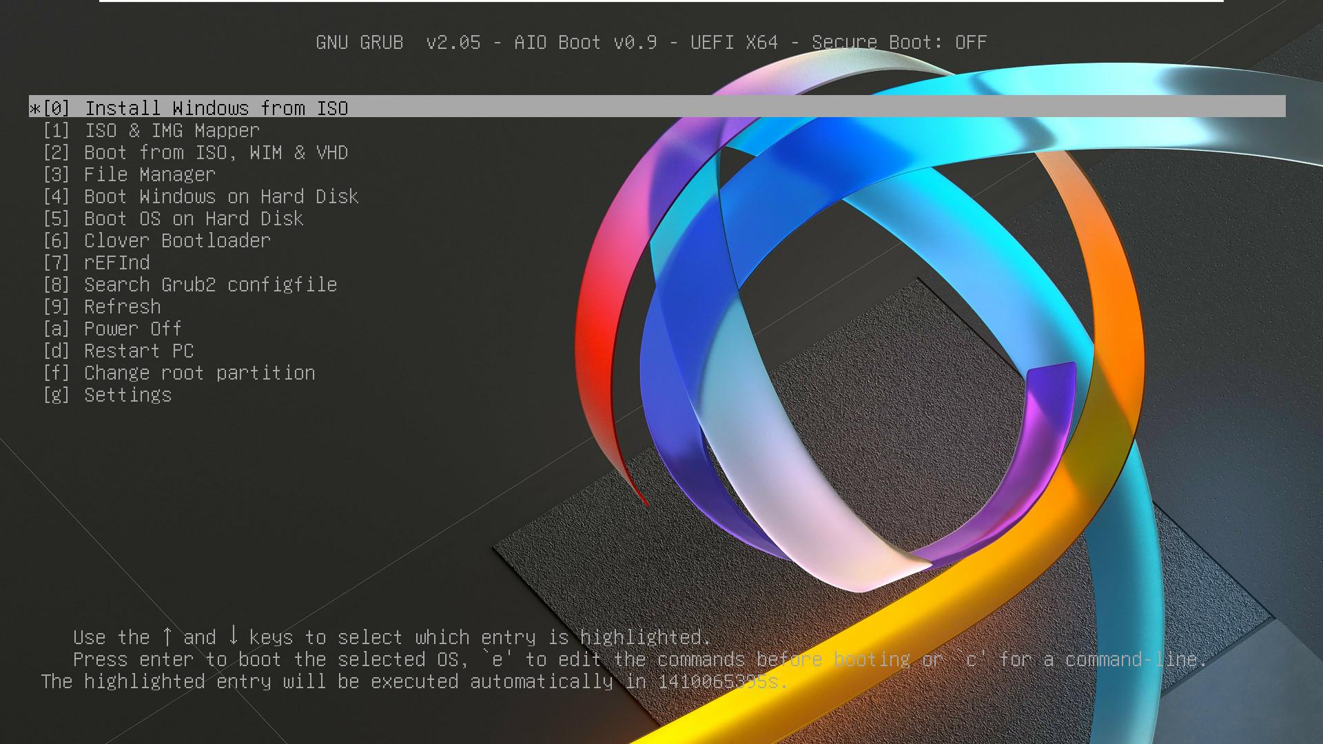 AIO Boot의 grubenv와 기타 설정하기2.bat 으로 설정 자동화하기 - lang 설정을 ko 한글로 추가 설정하면 부팅 메뉴가 한글로 나옵니다 - lang을 en 으로 수정하면 다시 영어로 나옵니다 2020-09-14_031852.jpg