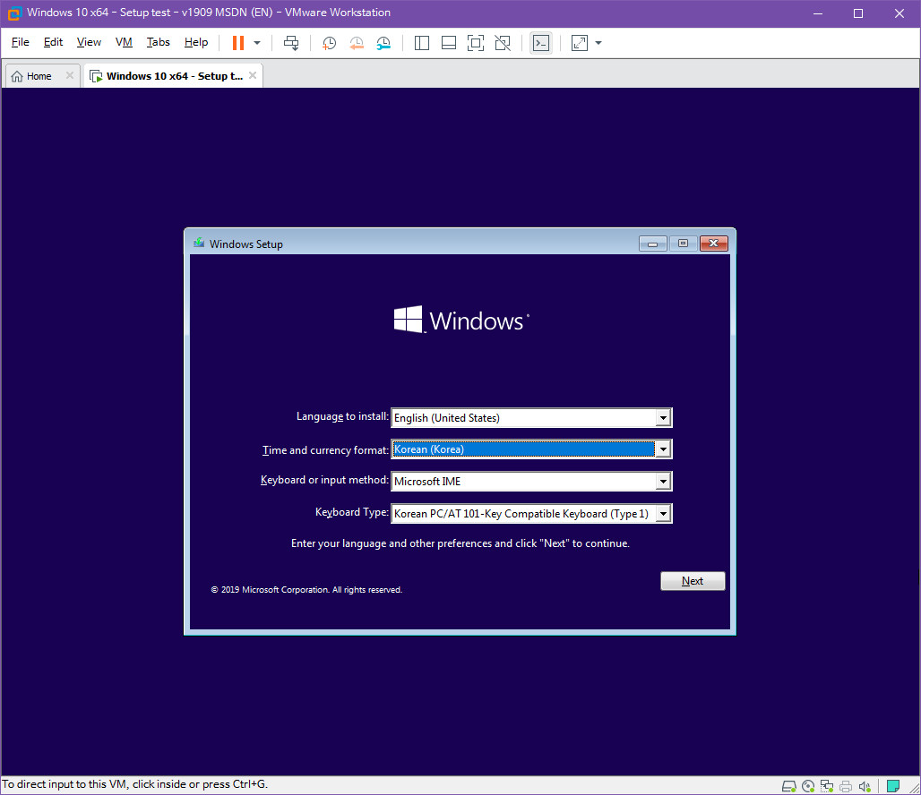 Windows 10 버전 1909 (OS빌드 18363.418) 코드네임 19H2 첫 MSDN 영문판 나왔네요 - 이미지 정보 - 여전히 버전 1903 의 업데이트 통합판에  KB4517245 추가 통합한 것 뿐입니다 - 설치 테스트 2019-10-17_082703.jpg