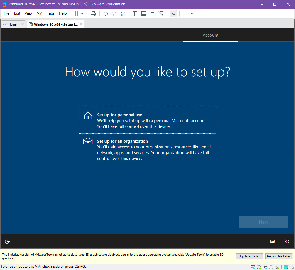 Windows 10 버전 1909 (OS빌드 18363.418) 코드네임 19H2 첫 MSDN 영문판 나왔네요 - 설치 테스트 2019-10-17_083444.jpg