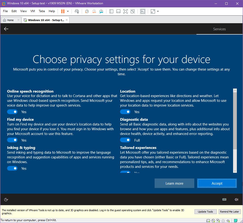 Windows 10 버전 1909 (OS빌드 18363.418) 코드네임 19H2 첫 MSDN 영문판 나왔네요 - 설치 테스트 2019-10-17_083549.jpg