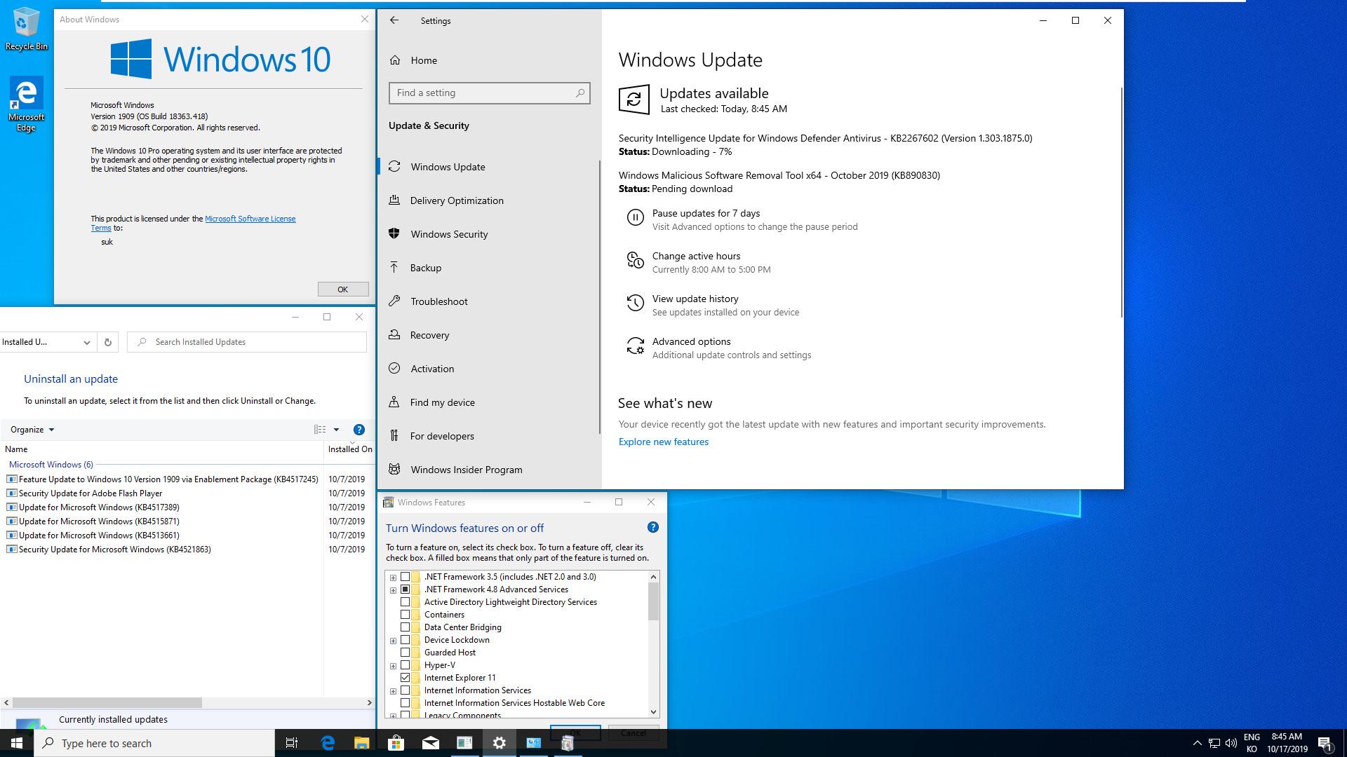 Windows 10 버전 1909 (OS빌드 18363.418) 코드네임 19H2 첫 MSDN 영문판 나왔네요 - 설치 테스트 2019-10-17_084558.jpg