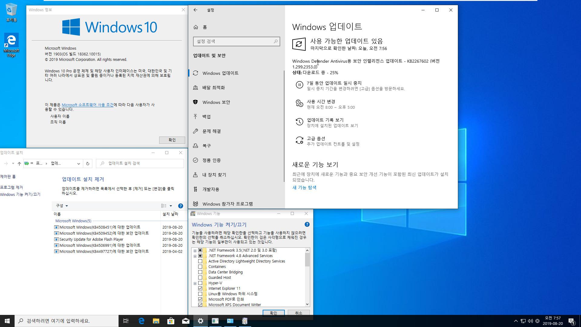 Windows 10 19H2 ì¸ì¬ì´ë í리뷰 KB4508451 ëì ìë°ì´í¸ (OS ë¹ë 18362.10015) [2019-08-19 ì¼ì] ëìë¤ì - 64ë¹í¸ íë¡ë§ íµí©í©ëë¤ 2019-08-20_075716.jpg