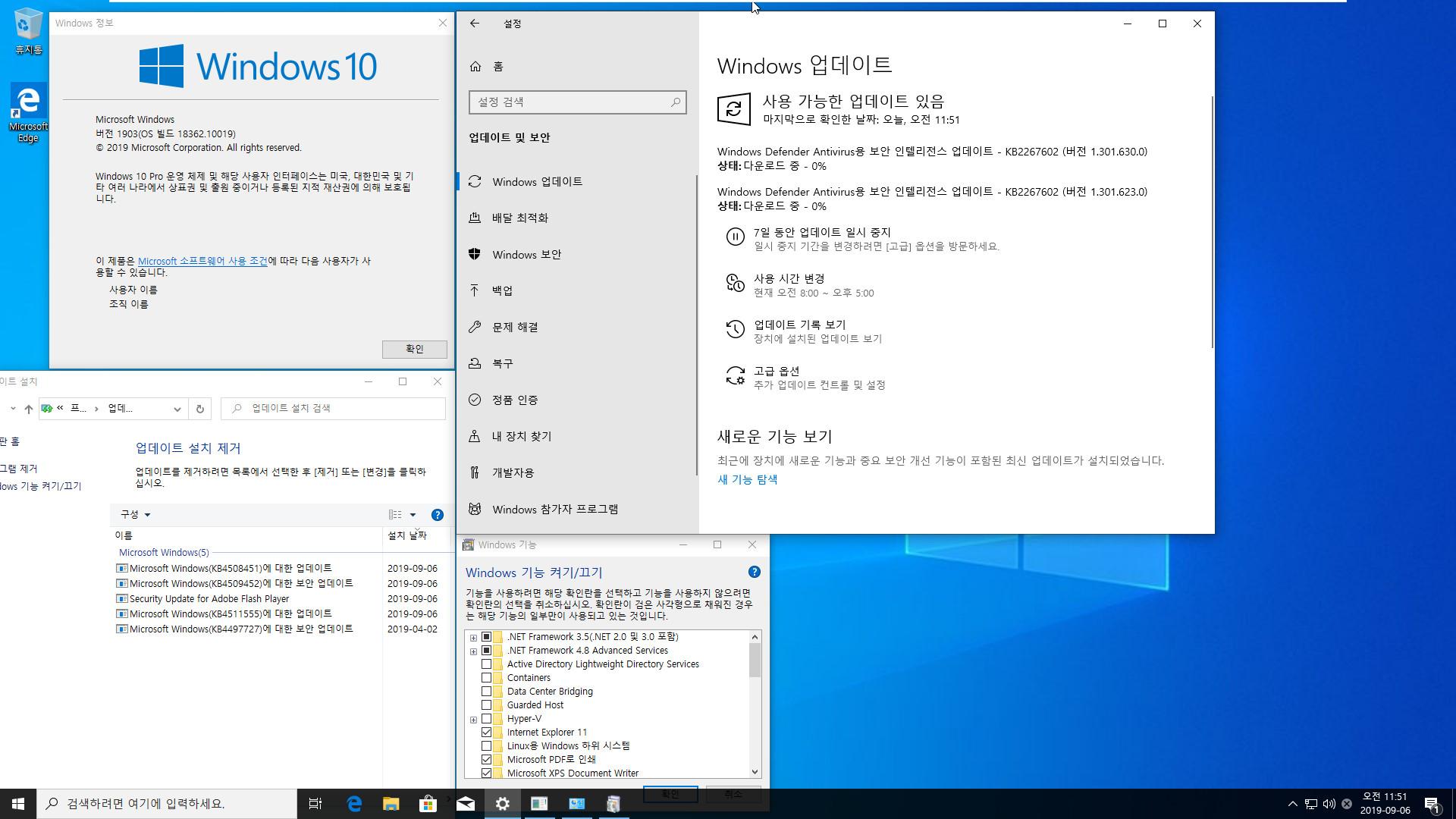 Windows 10 19H2 인사이더 프리뷰 KB4508451 누적 업데이트 (OS 빌드 18362.10019) [2019-09-05 일자] 나왔네요 [슬로우 링] - 프로 64비트 통합중 입니다 2019-09-06_115123.jpg