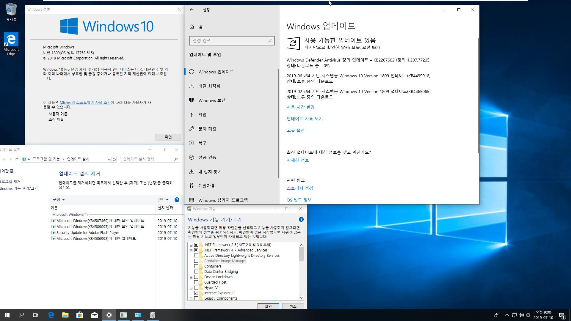 2019-07-10 정기 업데이트 - Windows 10 버전 1809 누적 업데이트 KB4507469 (OS 빌드 17763.615) [2019-07-09 일자] 통합중 입니다 - 64비트 확인 2019-07-10_090039.jpg