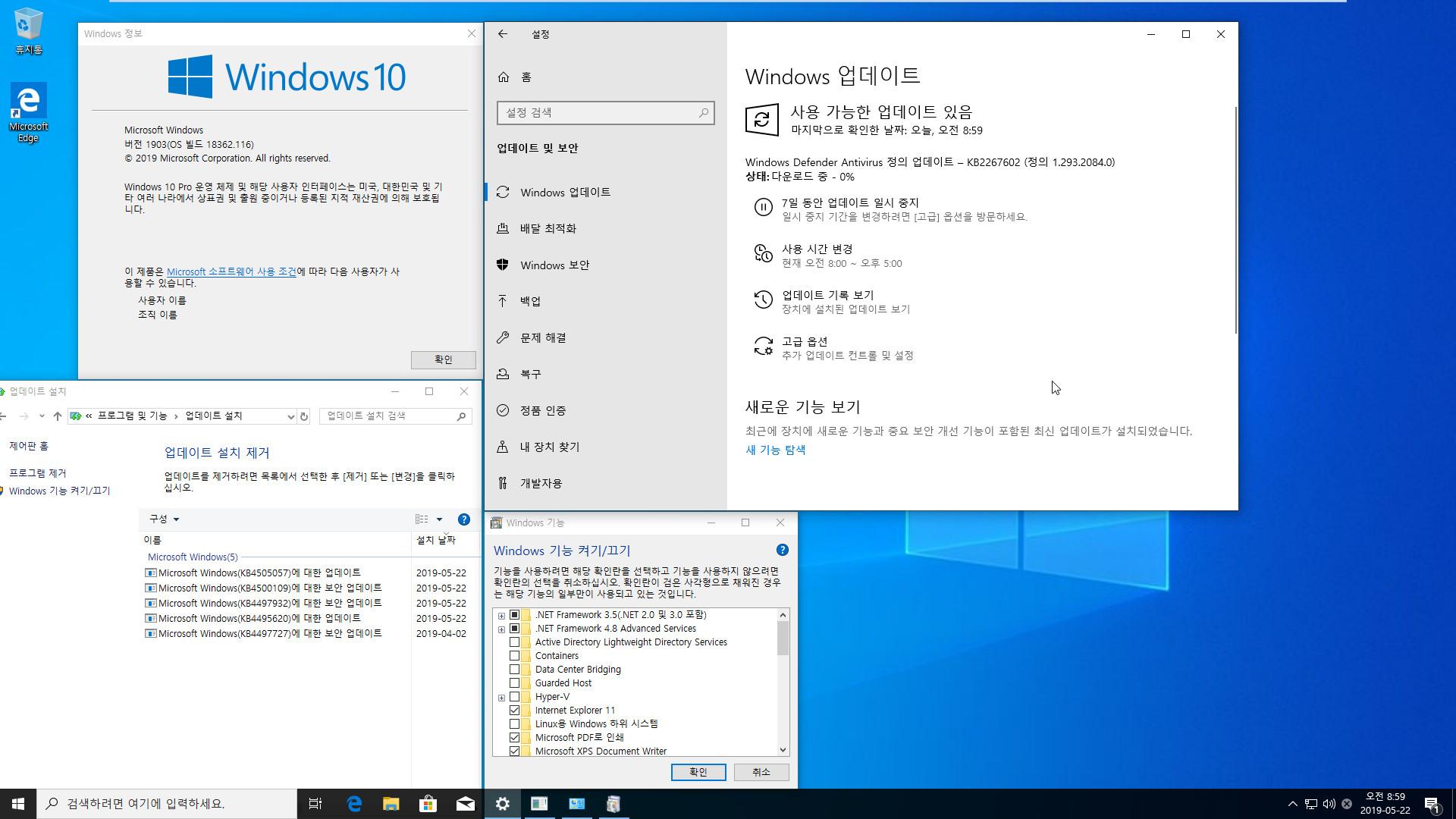 Windows 10 버전 1903 누적 업데이트 KB4505057 (OS 빌드 18362.116) [2019-05-19 일자] 통합중 입니다 - 정식 출시 기념으로 2019-05-22_085929.jpg