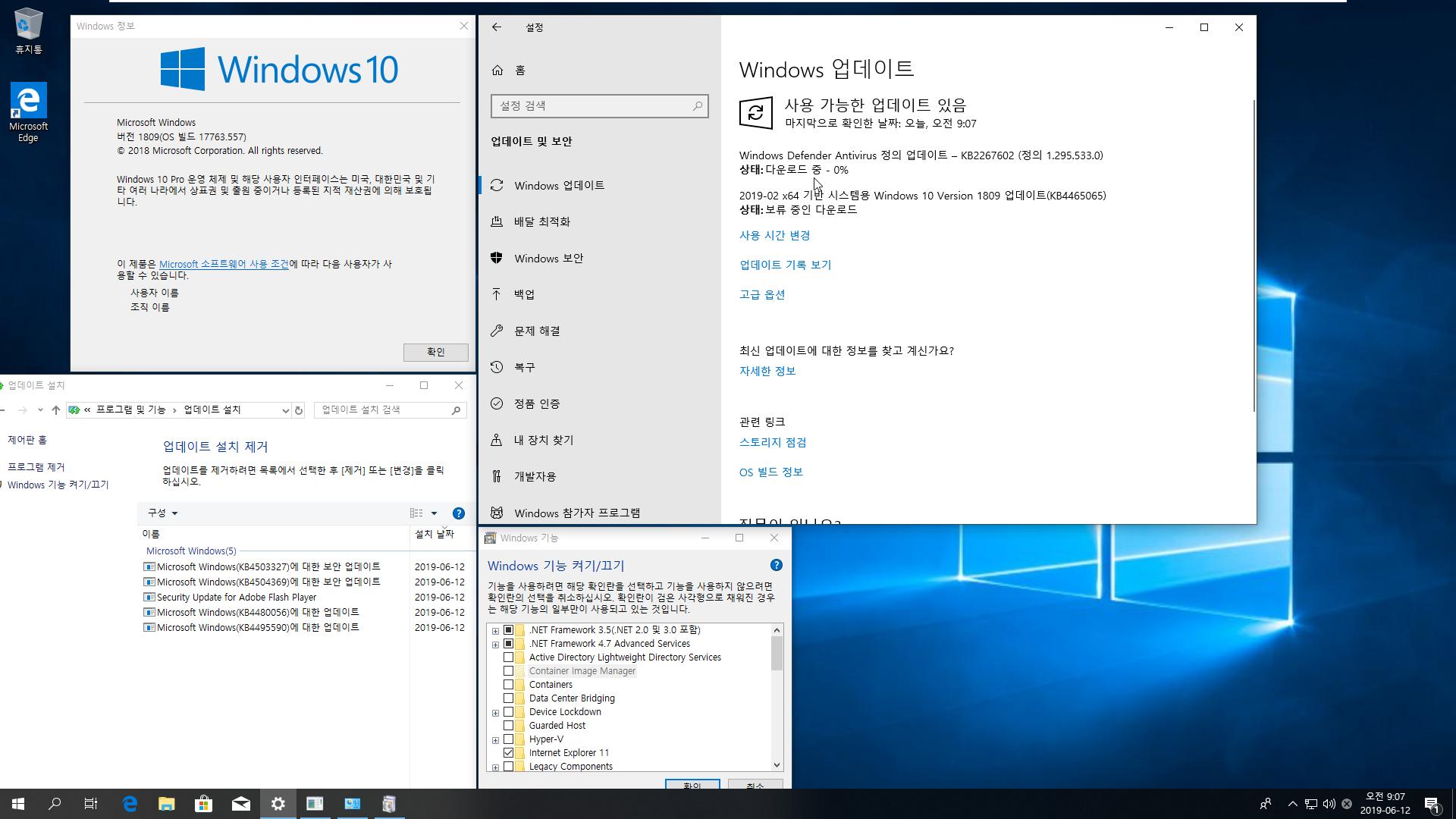 2019년 6월 12일 정기 업데이트 나왔네요 - Windows 10 버전 1809 누적 업데이트 KB4503327 (OS 빌드 17763.557) [2019-06-11 일자] 통합중 입니다 2019-06-12_090755.png