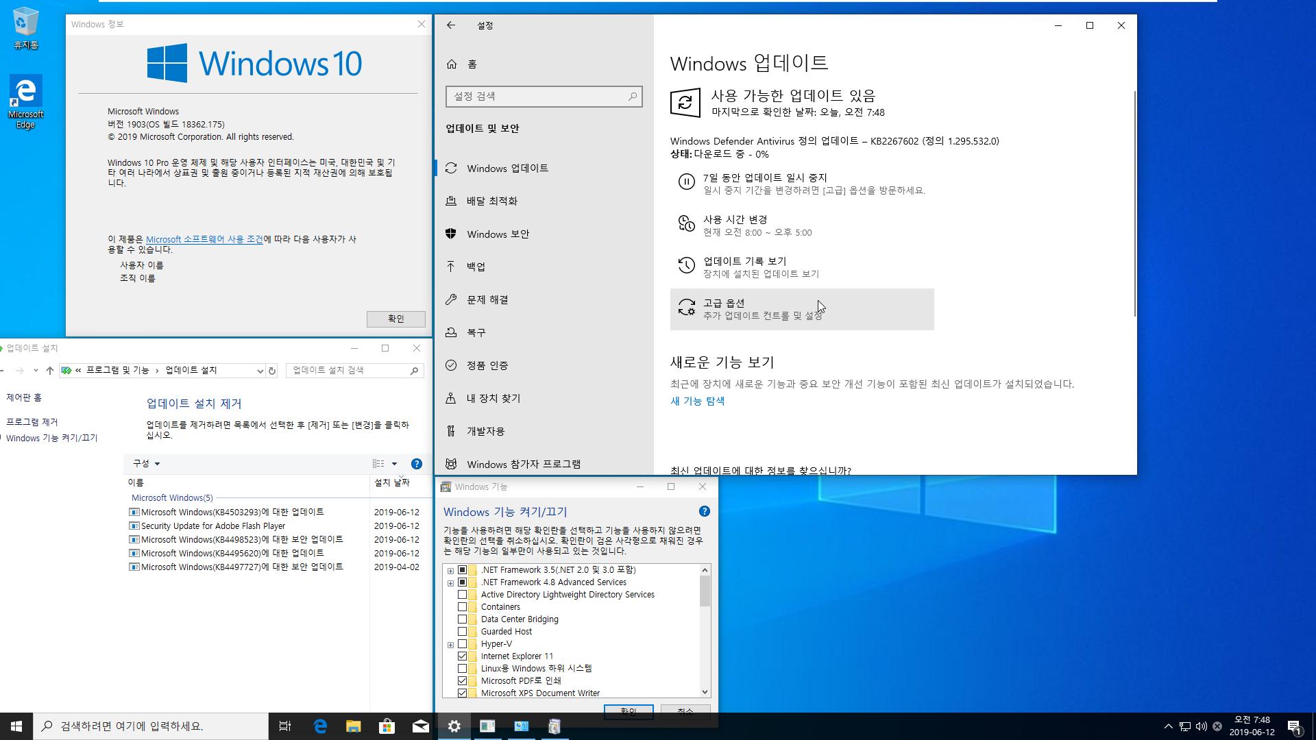 2019년 6월 12일 정기 업데이트 나왔네요 - Windows 10 버전 1903 누적 업데이트 KB4503293 (OS 빌드 18362.175) [2019-06-11 일자] 통합중 입니다 2019-06-12_074848.png