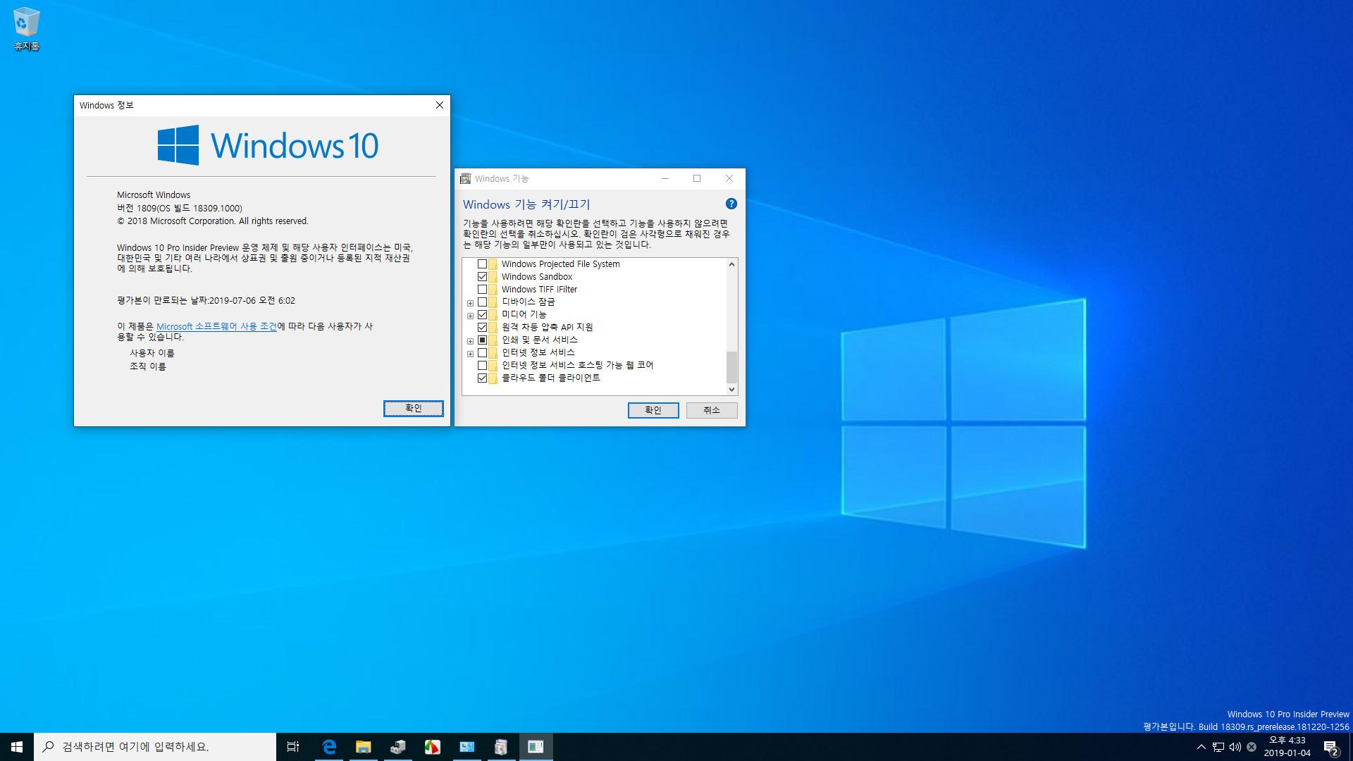 윈도10 19H1 인사이더 프리뷰 18309.1000 빌드 나왔네요 - 실컴에서 다시 Windows Sandbox 테스트 2019-01-04_163320.jpg