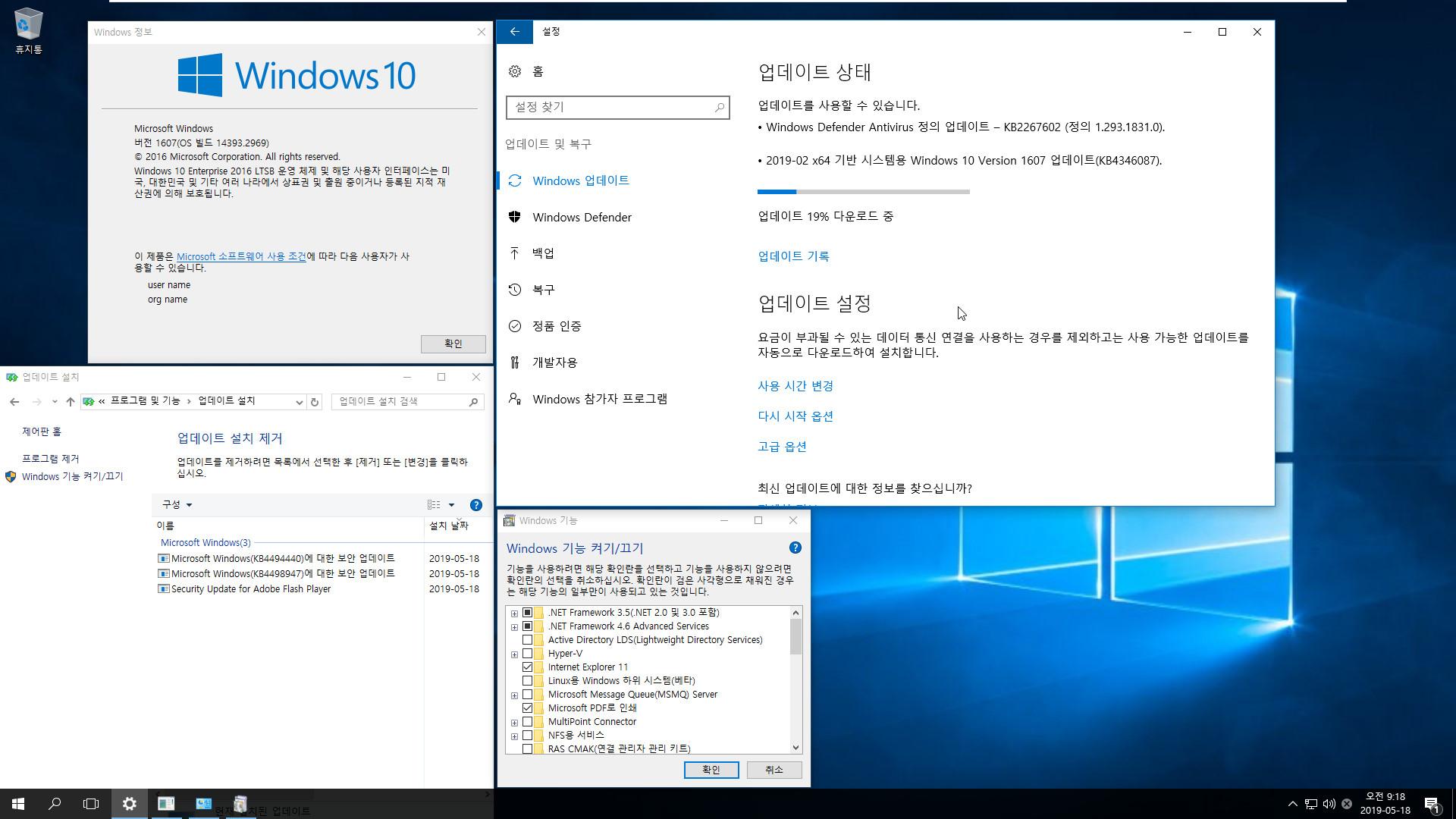 Windows 10 버전 1607용 누적 업데이트 KB4494440 (OS 빌드 14393.2969) [2019-05-14 일자] - 2016 LTSB만 통합중입니다 2019-05-18_091845.jpg