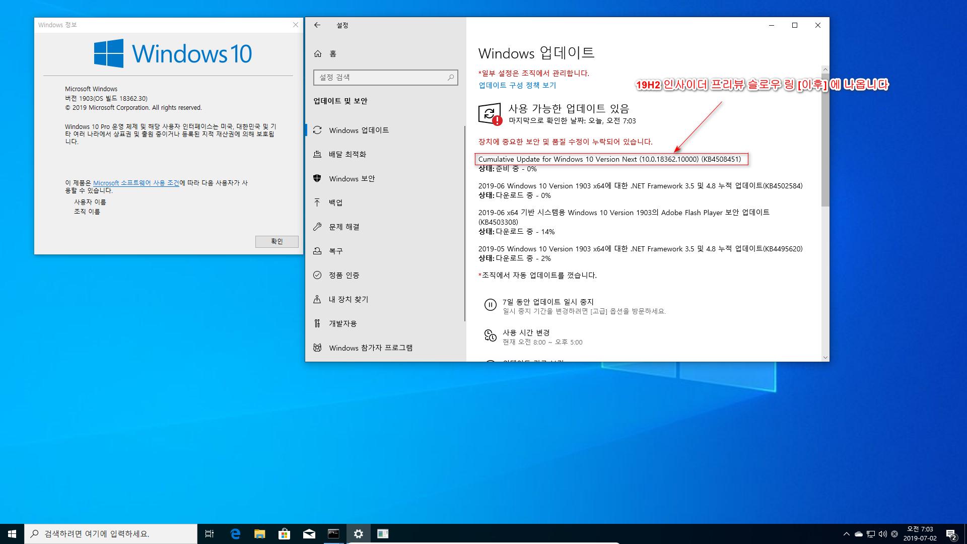 드디어 Windows 10 19H2 나왔네요 - 인사이더 프리뷰 [18362.10000] 2019-07-02_070352.png