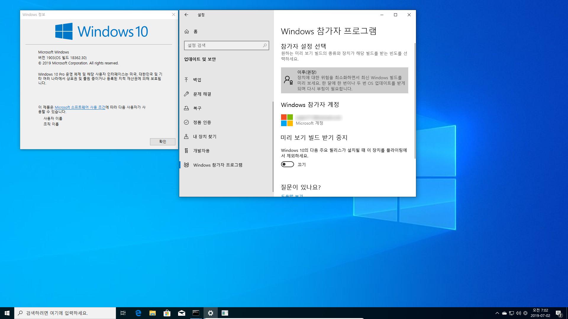 드디어 Windows 10 19H2 나왔네요 - 인사이더 프리뷰 [18362.10000] 2019-07-02_070243.png