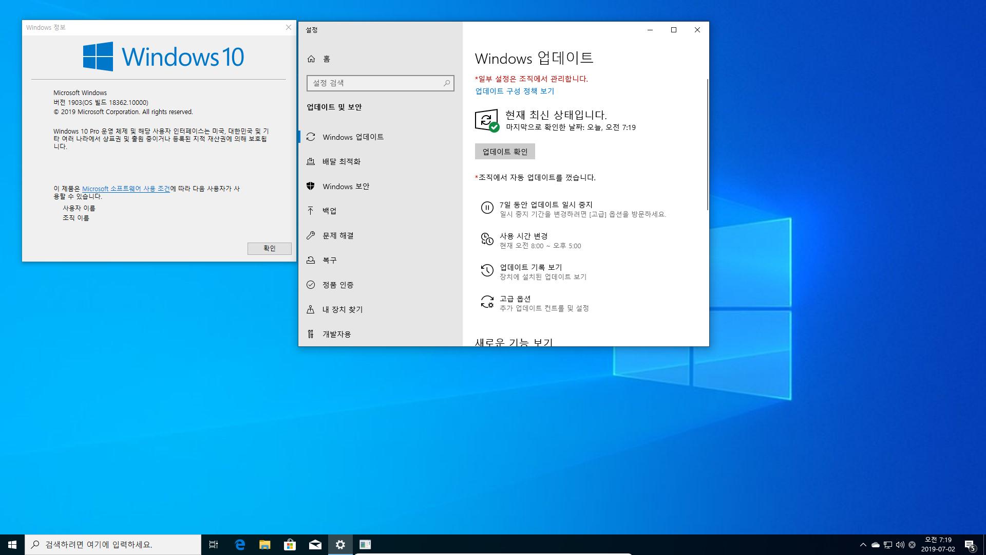 드디어 Windows 10 19H2 나왔네요 - 인사이더 프리뷰 [18362.10000] - 인사이더 프리뷰라는 표시도 없네요 2019-07-02_071922.png