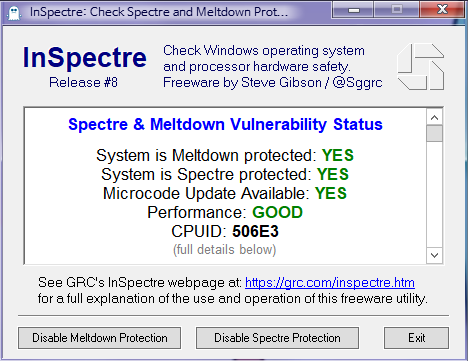 Inspectre.exe로 멜트다운과 스펙터 패치 여부 확인 - 전부 패치됨 2018-05-16_094201.png